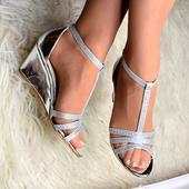 Stříbrné boty na klínku, 36-41, 36