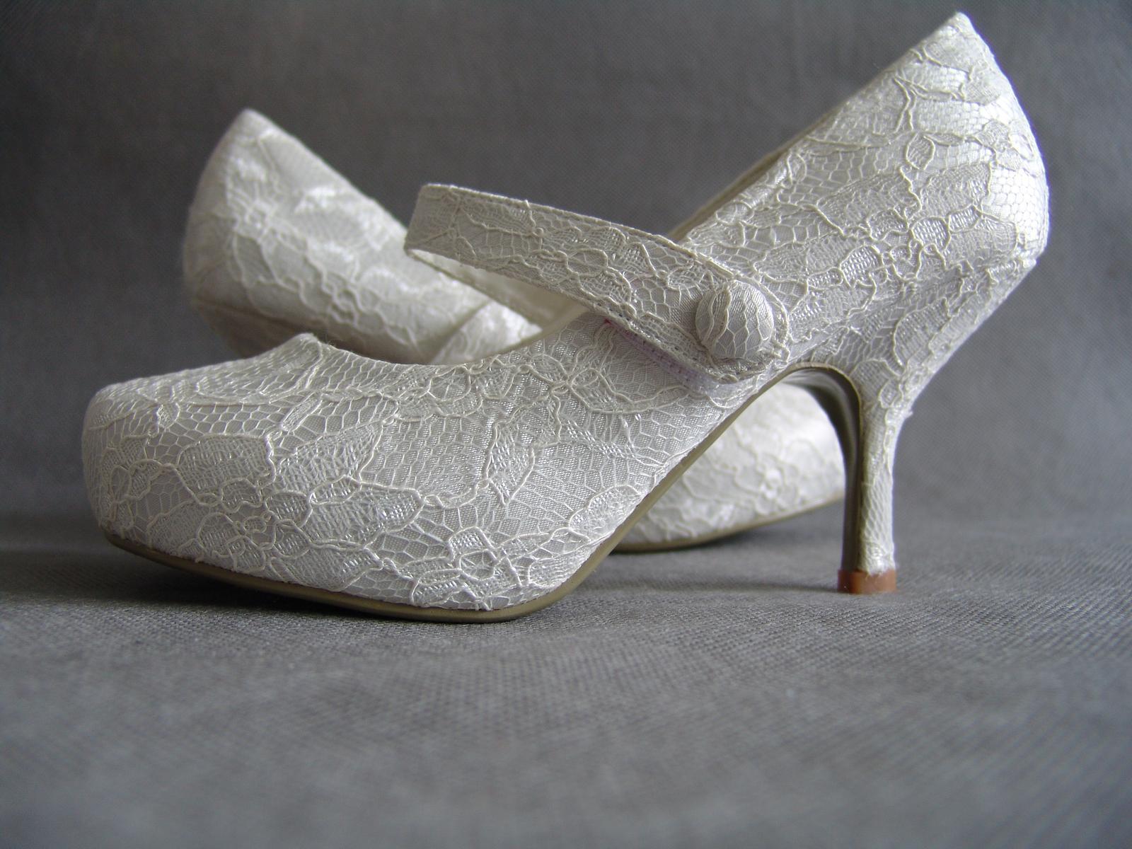 SKLADEM - ivory krajkové lodičky - Obrázek č. 1