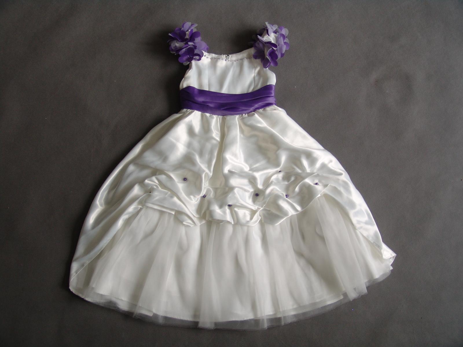 SKLADEM - ivory/fialové šaty pro družičky - 6-12 l - Obrázek č. 2