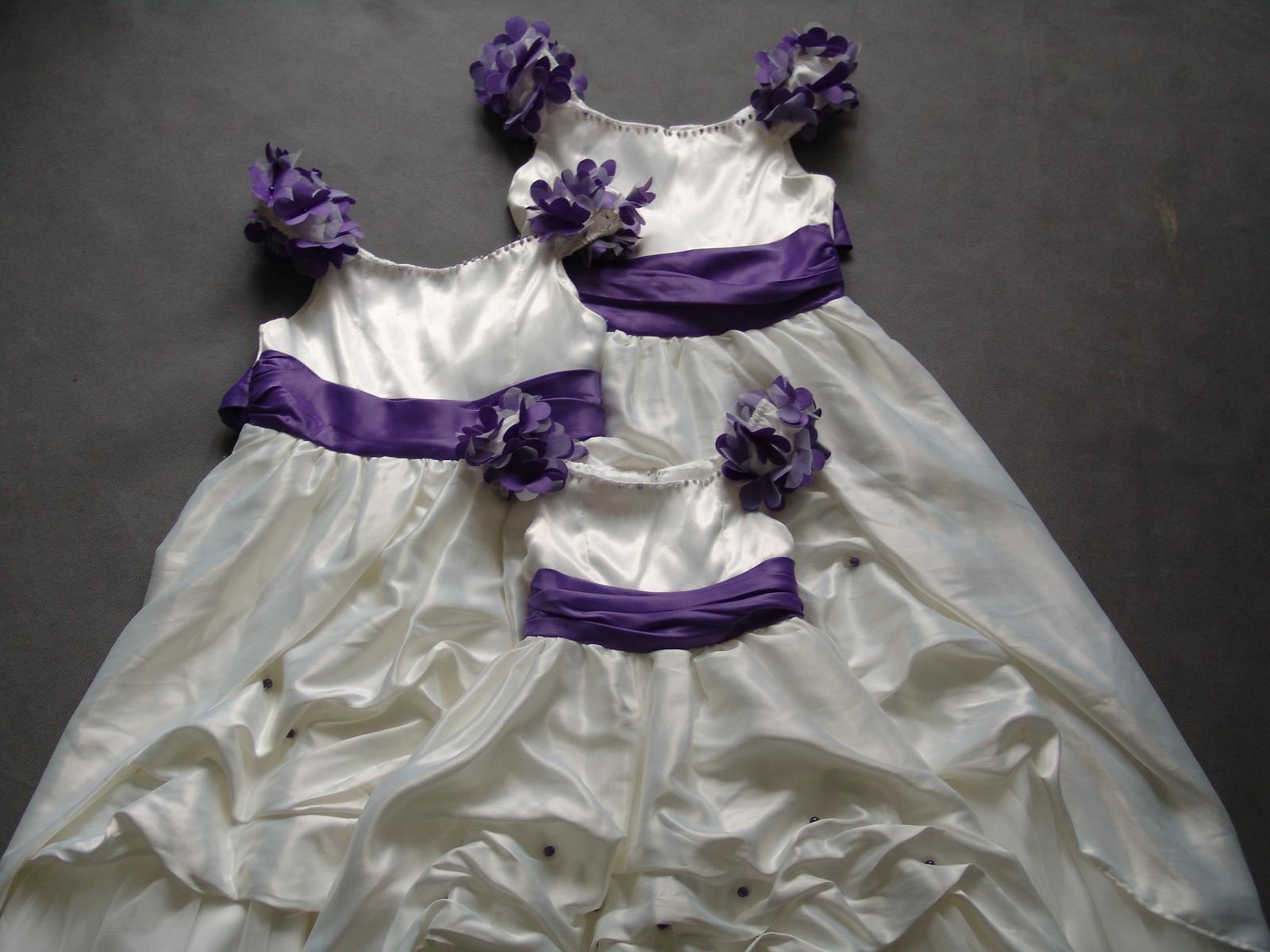 SKLADEM - ivory/fialové šaty pro družičky - 6-12 l - Obrázek č. 1