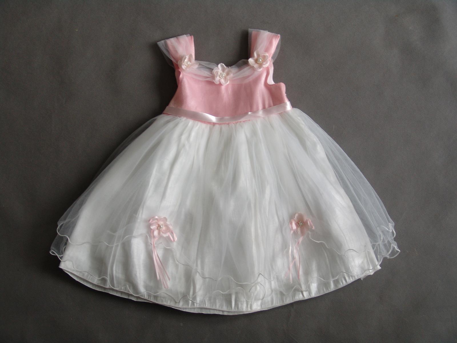 SKLADEM - růžovo-bílé šaty - 1-4 roky - Obrázek č. 1