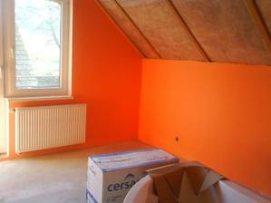spálňa farba oranžový pastel