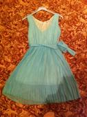 Mentolové šaty s plisovanou sukňou, 40