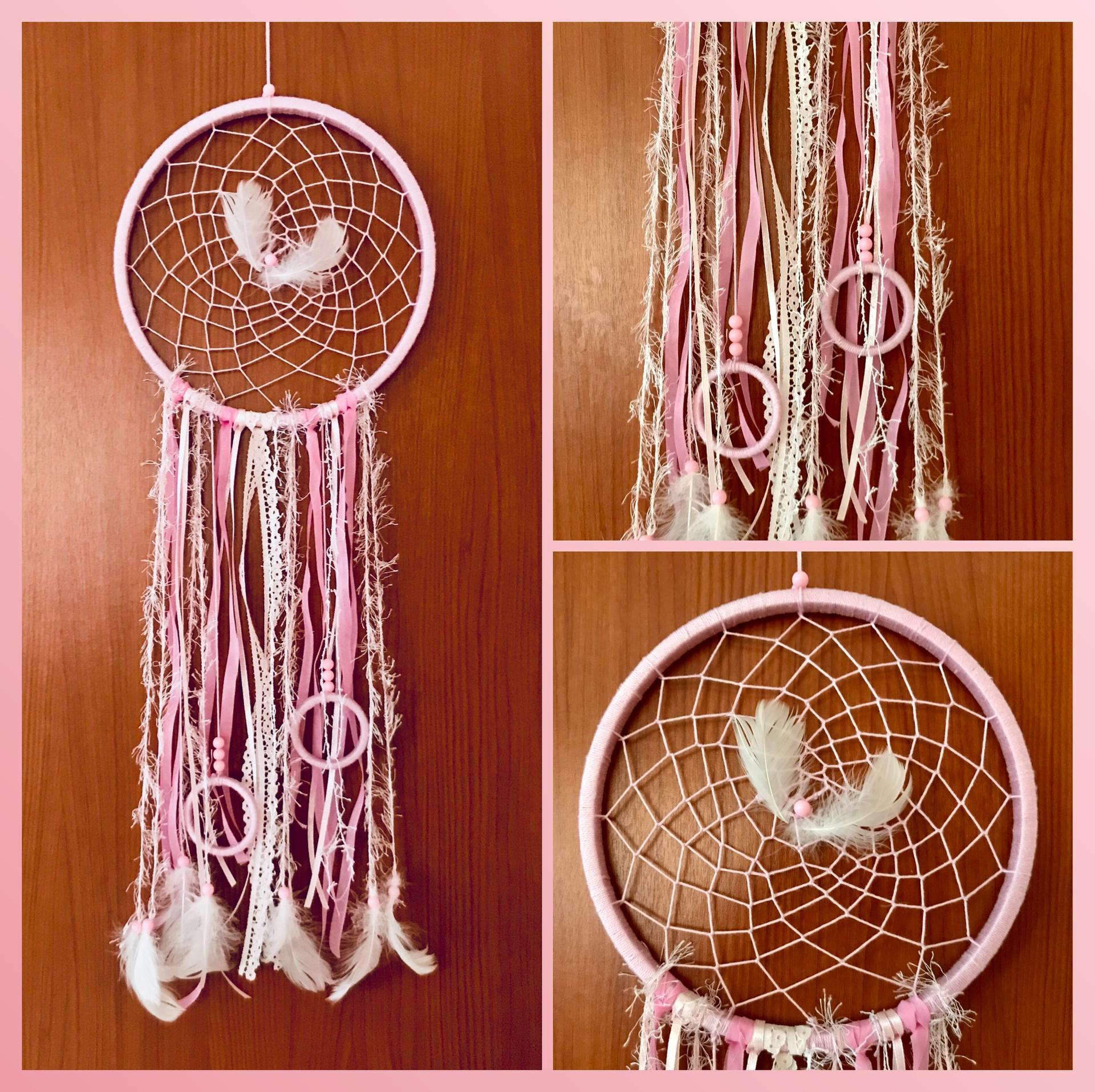 Miluji tvořit - Růžová s bílou, korálky, peříčka, kroužky ☺️