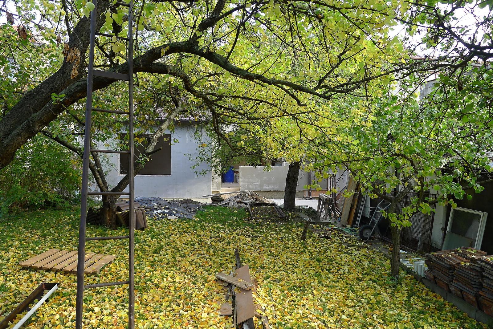Rekonstrukce našeho domečku - podzimní listí nám trošku uklidilo zahrádku :o)