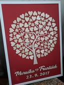 Svatební strom včetně rámu - 50x70cm - 100 srdíček,