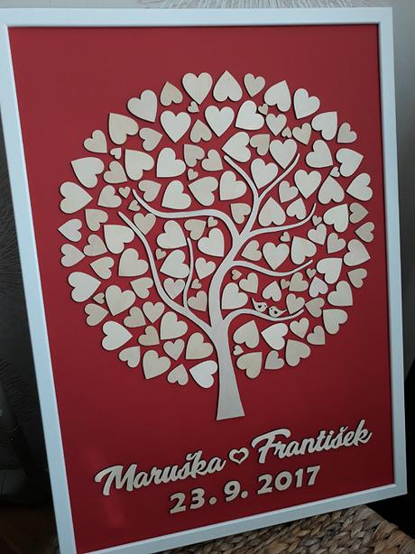 Svatební strom včetně rámu - 50x70cm - 100 srdíček - Obrázek č. 1