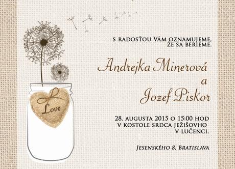 Nové svadobné oznámenia s imitáciou Juty - Obrázok č. 1