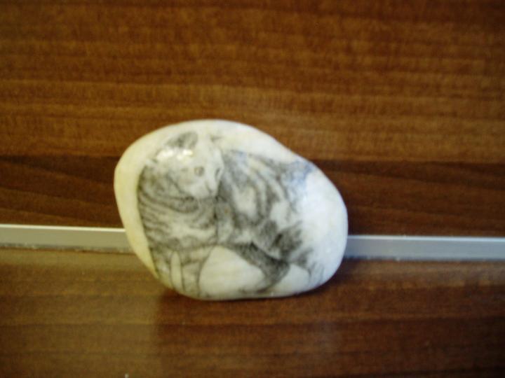 Pohrajme sa s kamienkami... - skúsila som preniesť mačičku na kameň, vydarila sa, ale odfotiť to ide tažšie, je prelakovaná leským lakom, tak sa mi moc odráža...