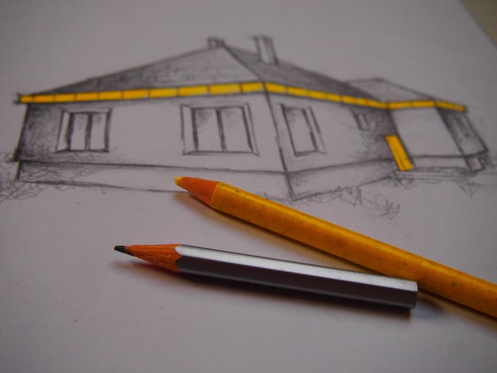 Dom so žltými dverami - náčrt domu - po rekonštrukcii
