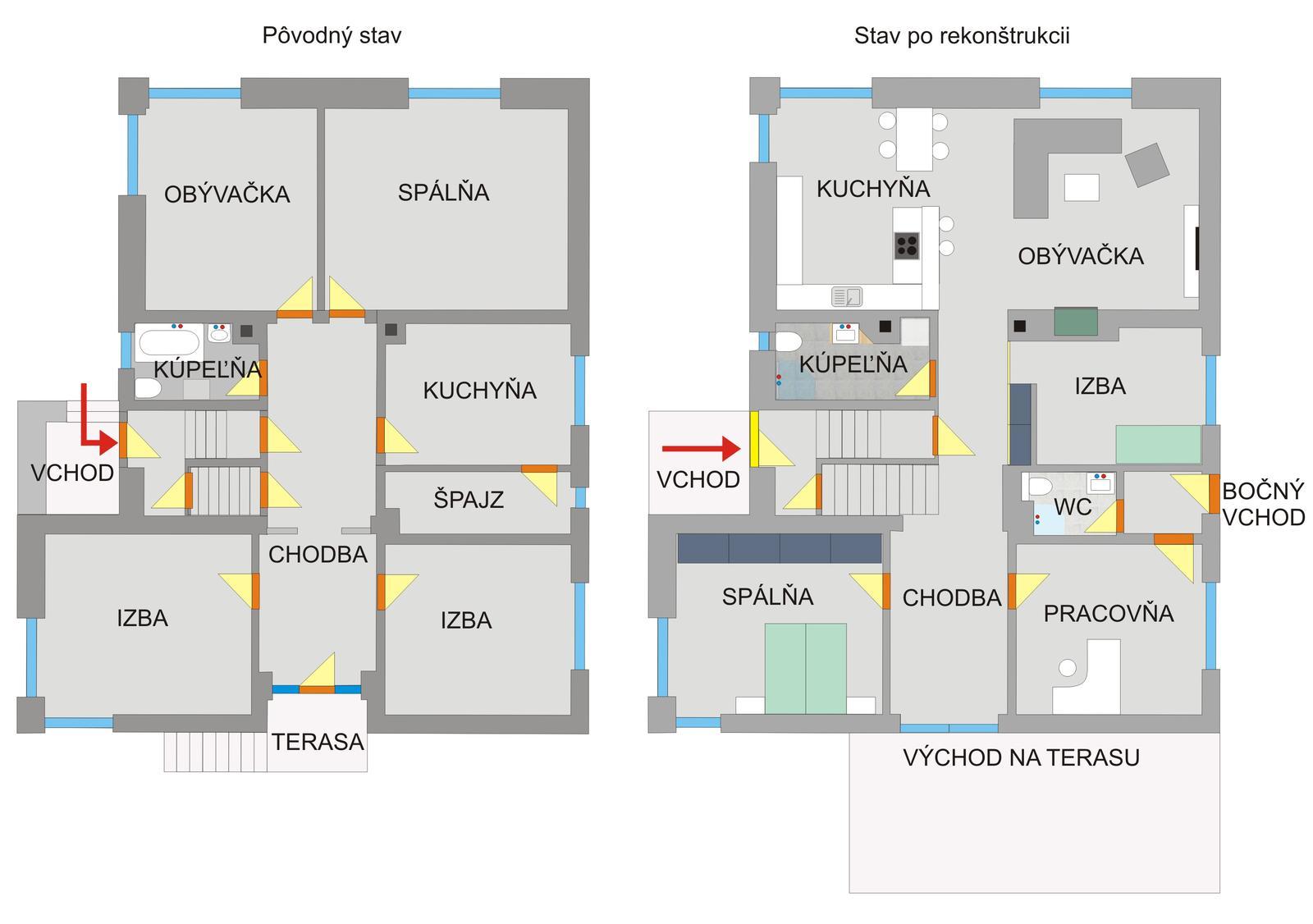 Dom so žltými dverami - úprava dispozície