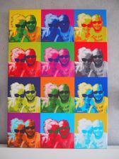 portrét na štýl Andyho Warhola - plátno 50x 70 cm - svadobný dar kamarátom