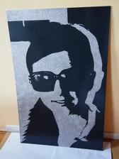 portrét 80 x 120 cm - antracit + strieborné trblietky