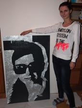 rozmer 80x120 cm v porovnaní so mnou - obraz je darček k narodeninám pre mladú slečnu
