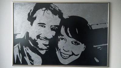 portrét 120 x 80 cm, už v ráme - svadobný dar švagrovcom