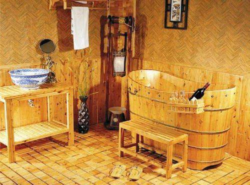 """*Naše chaloupka* - představovala bych si koupelnu v takovém nějakém """"starém stylu"""".Pěkně koupel v kádi ! Přece do roubenky nedám plastovku a dlaždičky!!!!"""