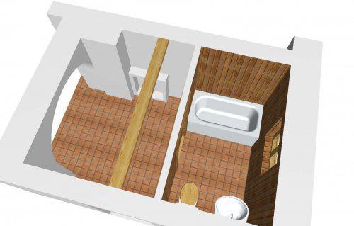 *Naše chaloupka* - studie koupelny....umístěné do chodby