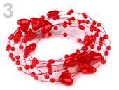 Perličkové girlandy srdiečka 10mm/130cm červená,