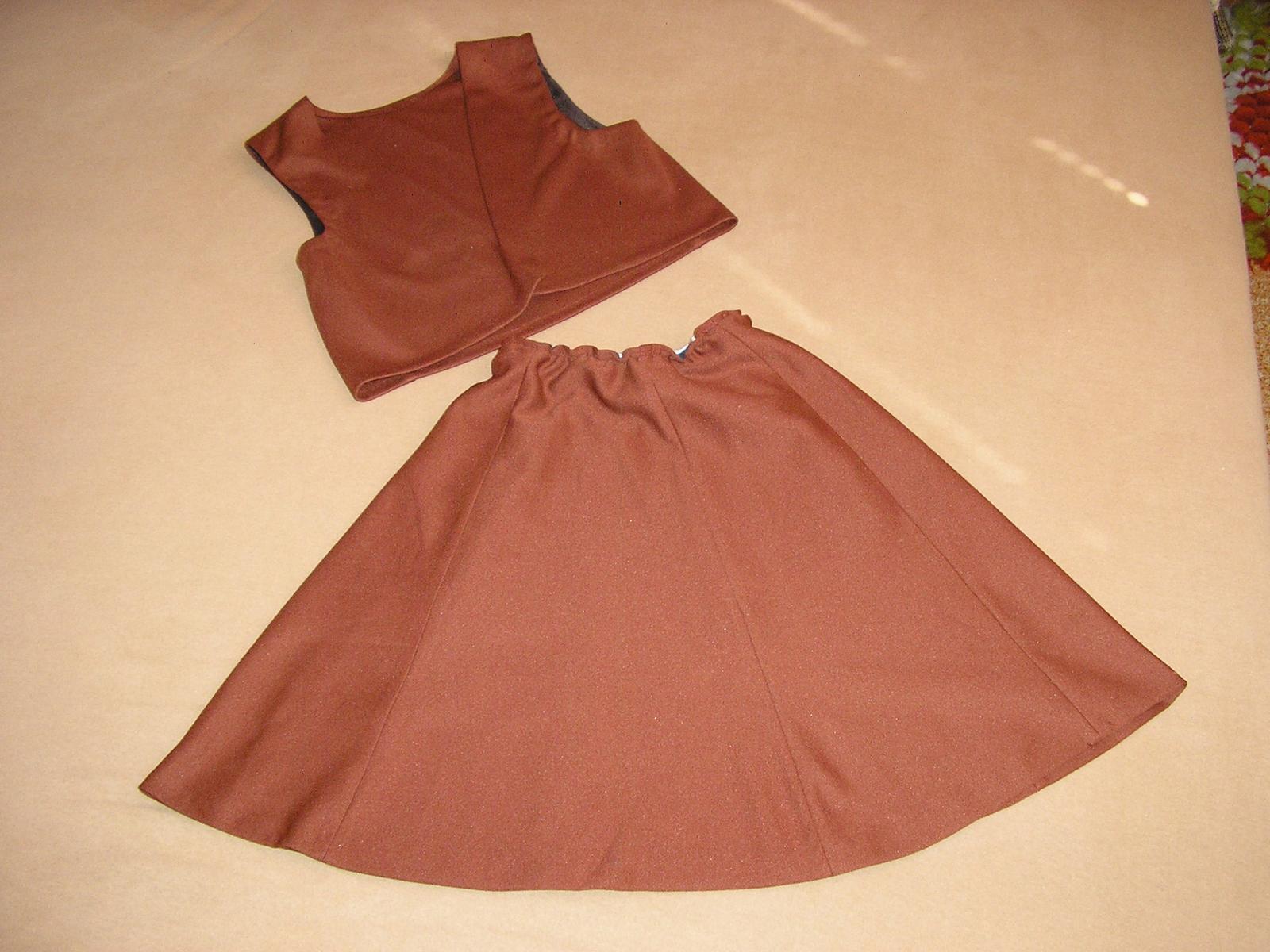 106. Hnedá suknička + vesta - Obrázok č. 1
