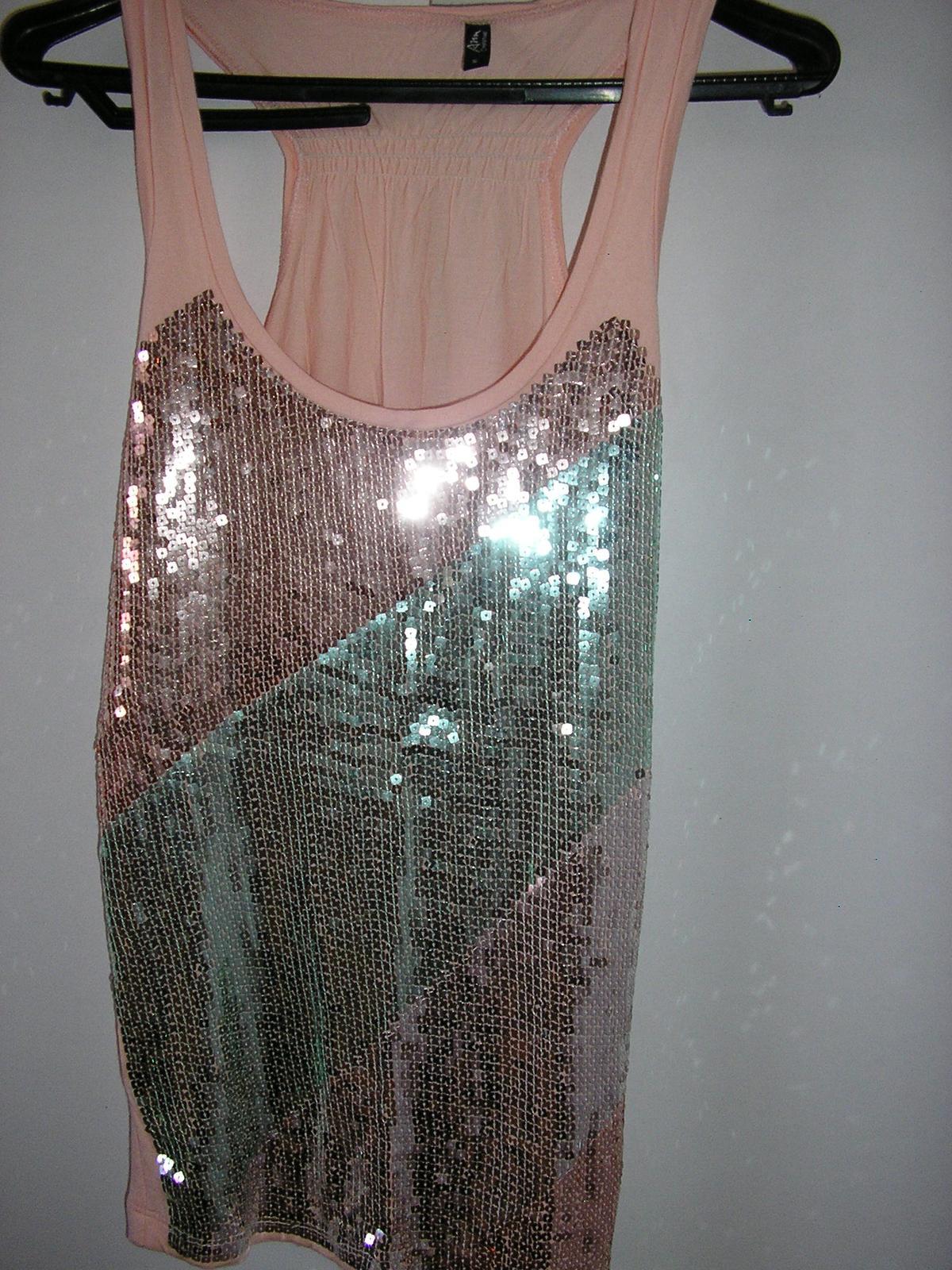 379. Ružové tričko s flitr.Anu Christine  - Obrázok č. 1