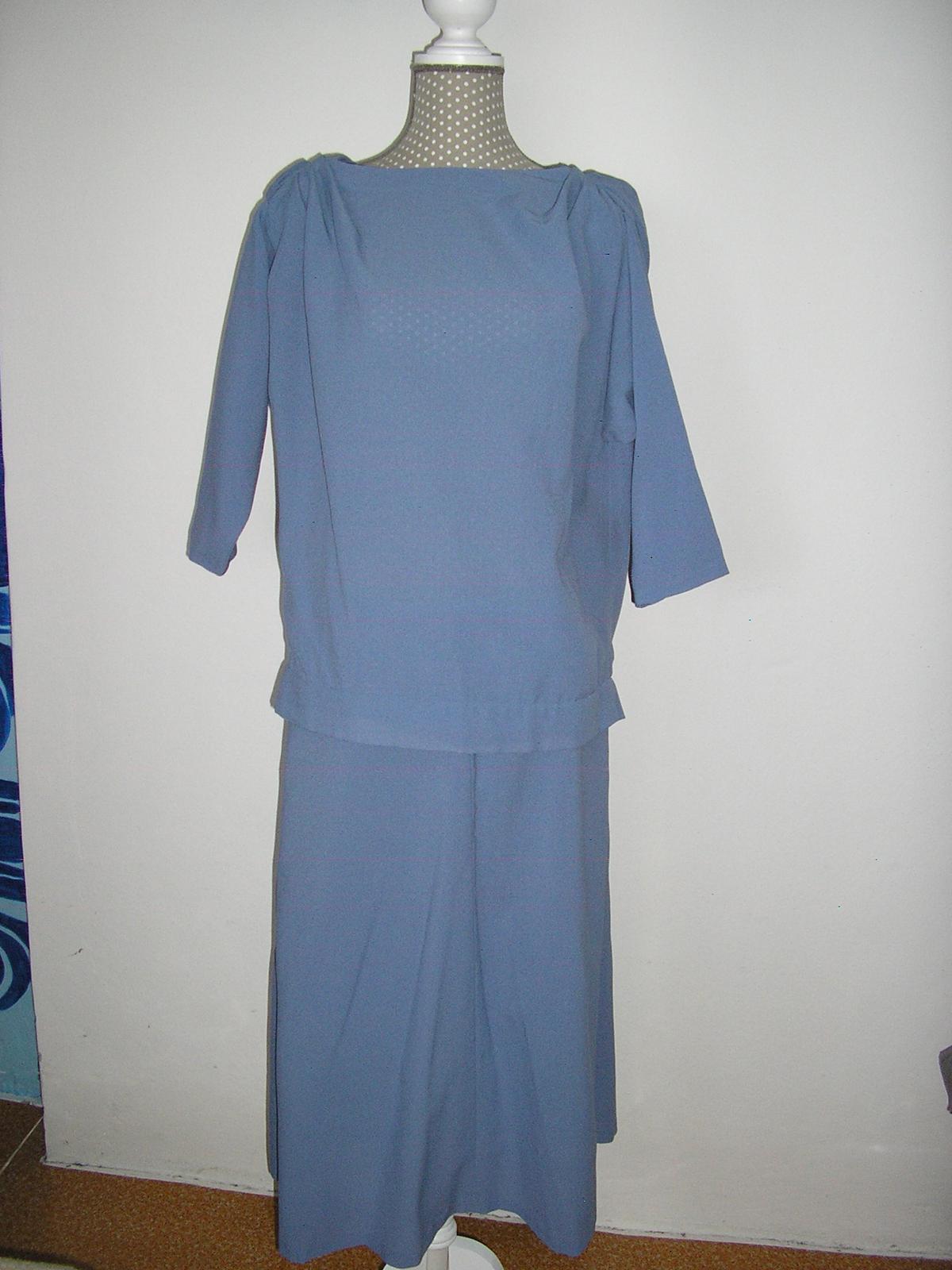 573. Sukňový komplet modro - sivý - Obrázok č. 1