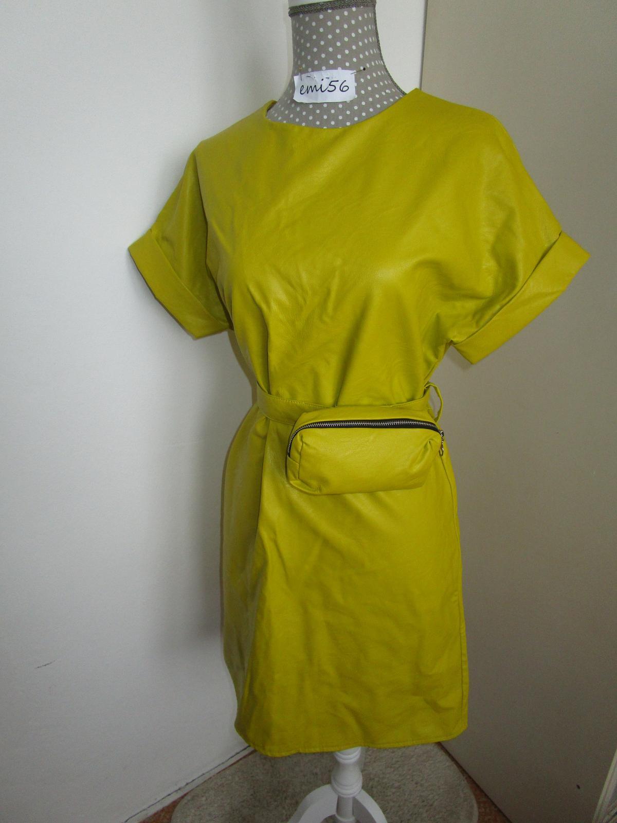 3043. Koženkové šaty s opaskom a kaps. - Obrázok č. 1
