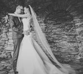 Originální svatební šaty s krajkou a tylem, 34