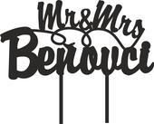 ozdoba zápich - Mr&Mrs + priezvisko,