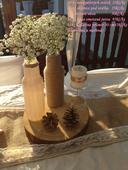 Svíčky s jutou a růžovou mašlí,