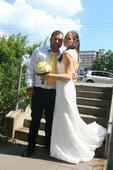 Svatební šaty s holými zády a vlečkou, 40