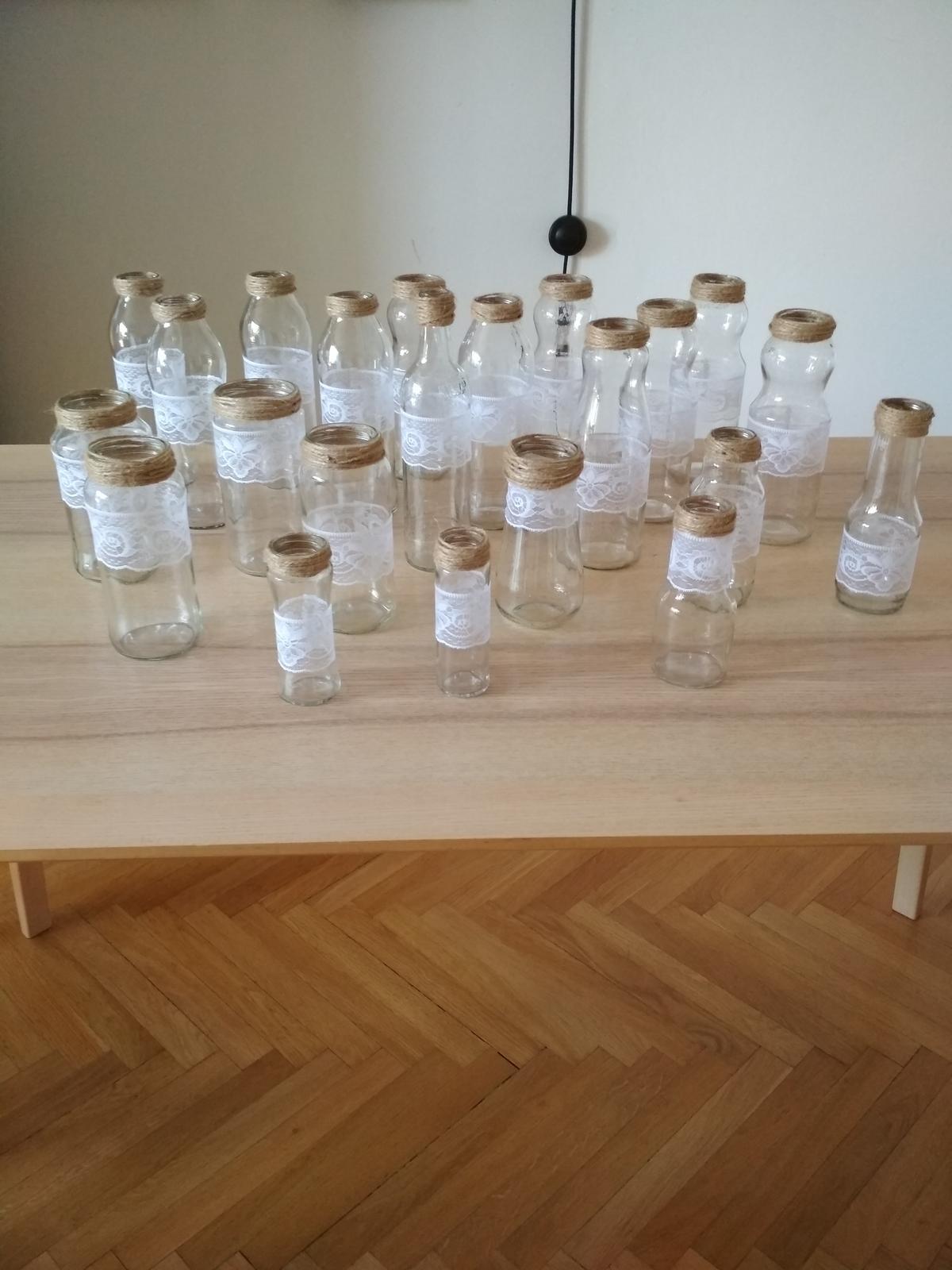 Sklenice a vázy na dekoraci (juta, krajka) 22ks - Obrázek č. 1