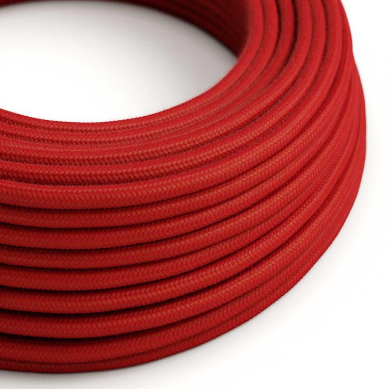 Okrúhly textilný elektrický kábel, bavlna - ohnivo červená - Obrázok č. 1