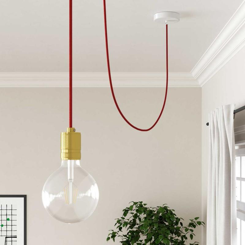 Okrúhly textilný elektrický kábel, bavlna - ohnivo červená - Obrázok č. 2