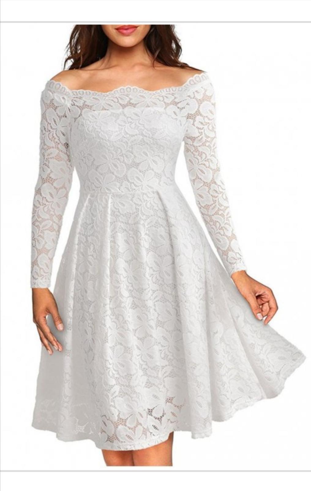 Biele čipkované šaty (nové) - Obrázok č. 1