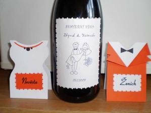 jmenovky a svatební vínko ... vlastní výroba