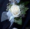 Samozřejmě korsáž pro ženicha s bílou růží.