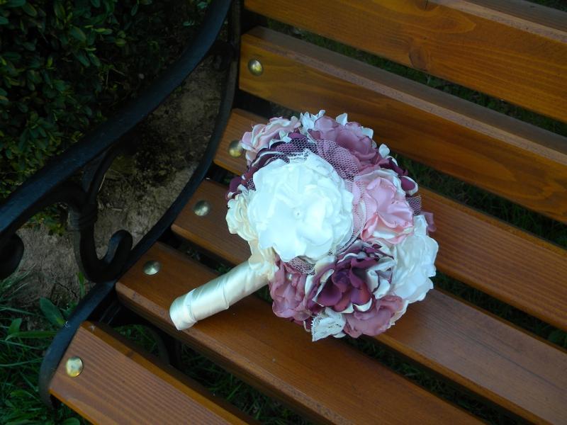 Látková kytica-pivonková , pošta v cene - Obrázok č. 2