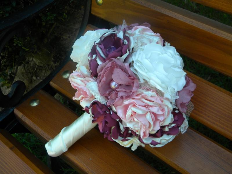 Látková kytica-pivonková , pošta v cene - Obrázok č. 1