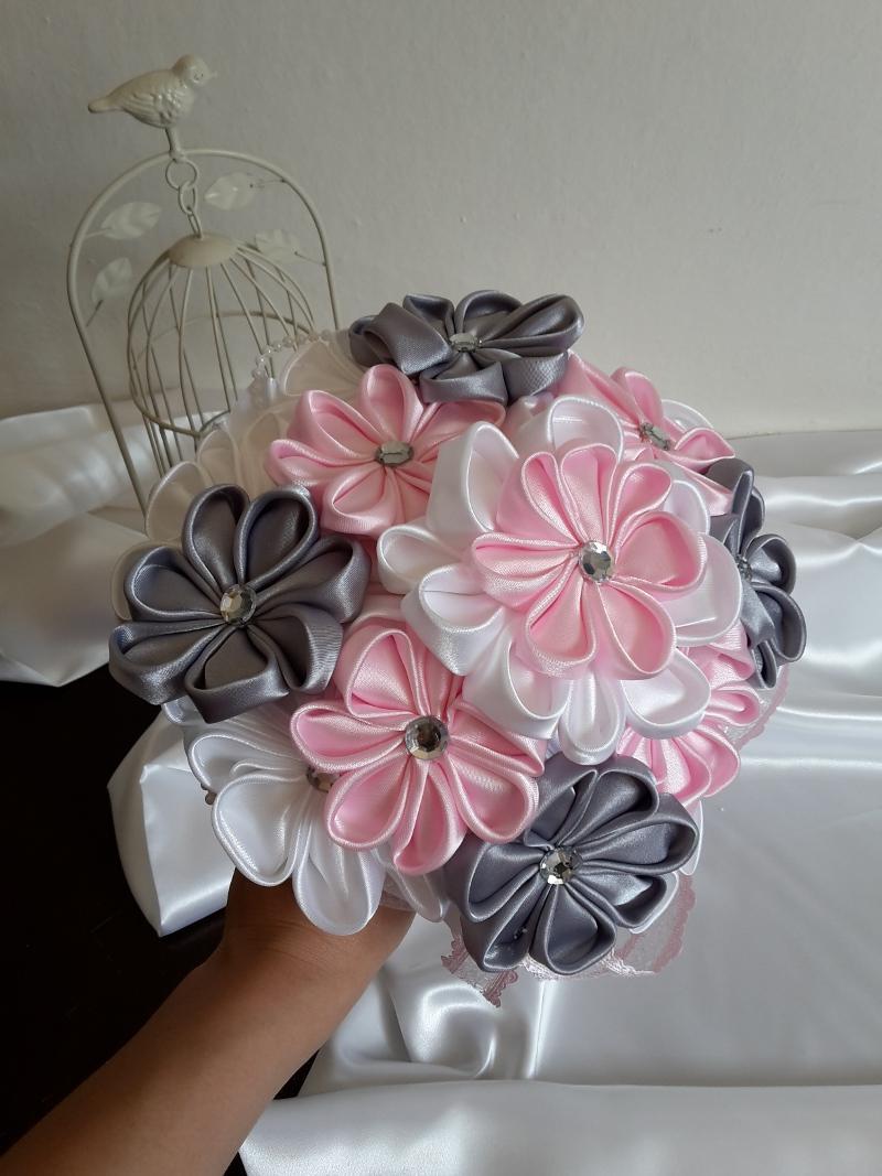 Ružovo šedá kytička,pošta v cene - Obrázok č. 1