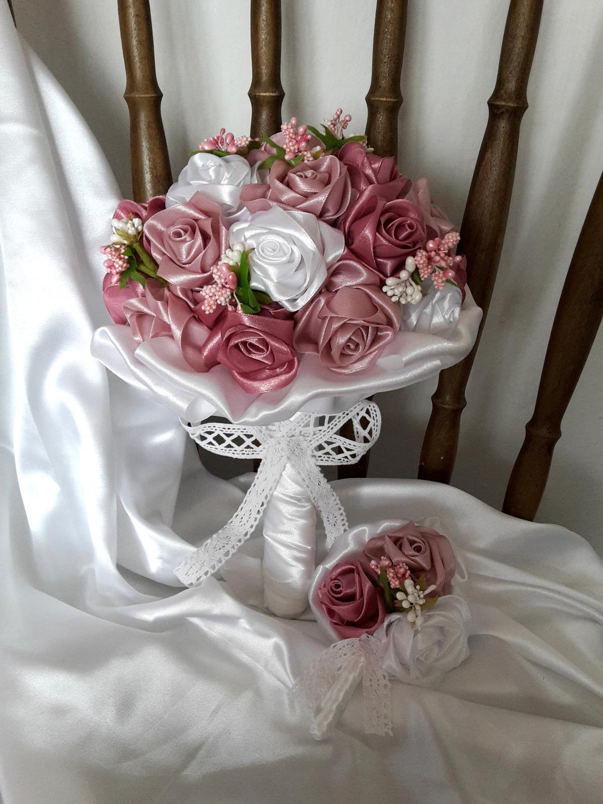 Saténové ruže-staroružové,pošta v cene - Obrázok č. 3