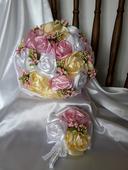 Saténové ruže-ružovo krémové,pošta v cene,