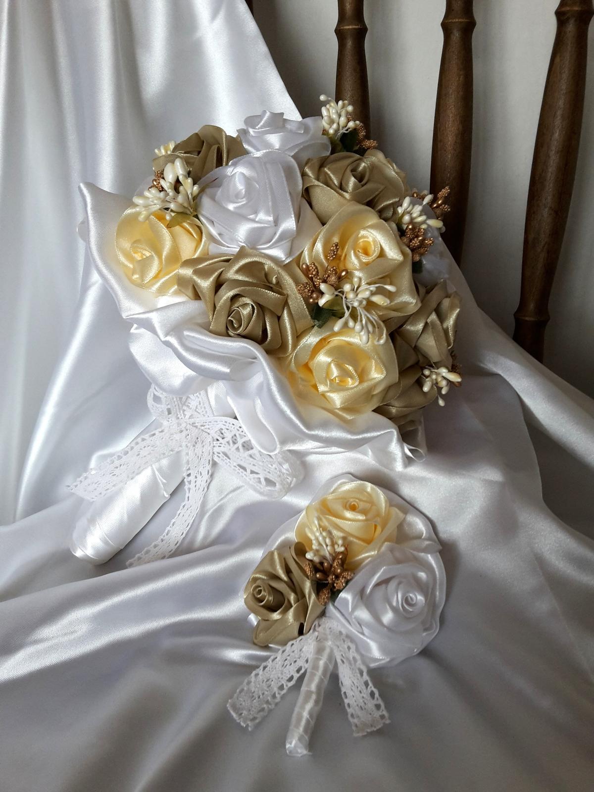 Saténové ruže-krém a cappuccino,pošta v cene - Obrázok č. 2