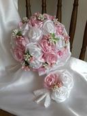 Saténové ruže-ružovo biele,pošta v cene,