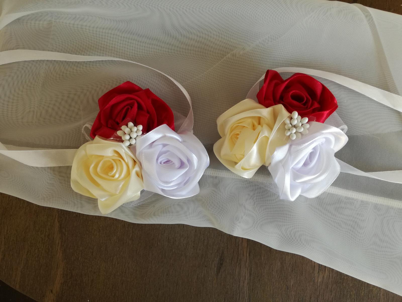 Saténové ruže-bordovo krémové,pošta v cene - Obrázok č. 3