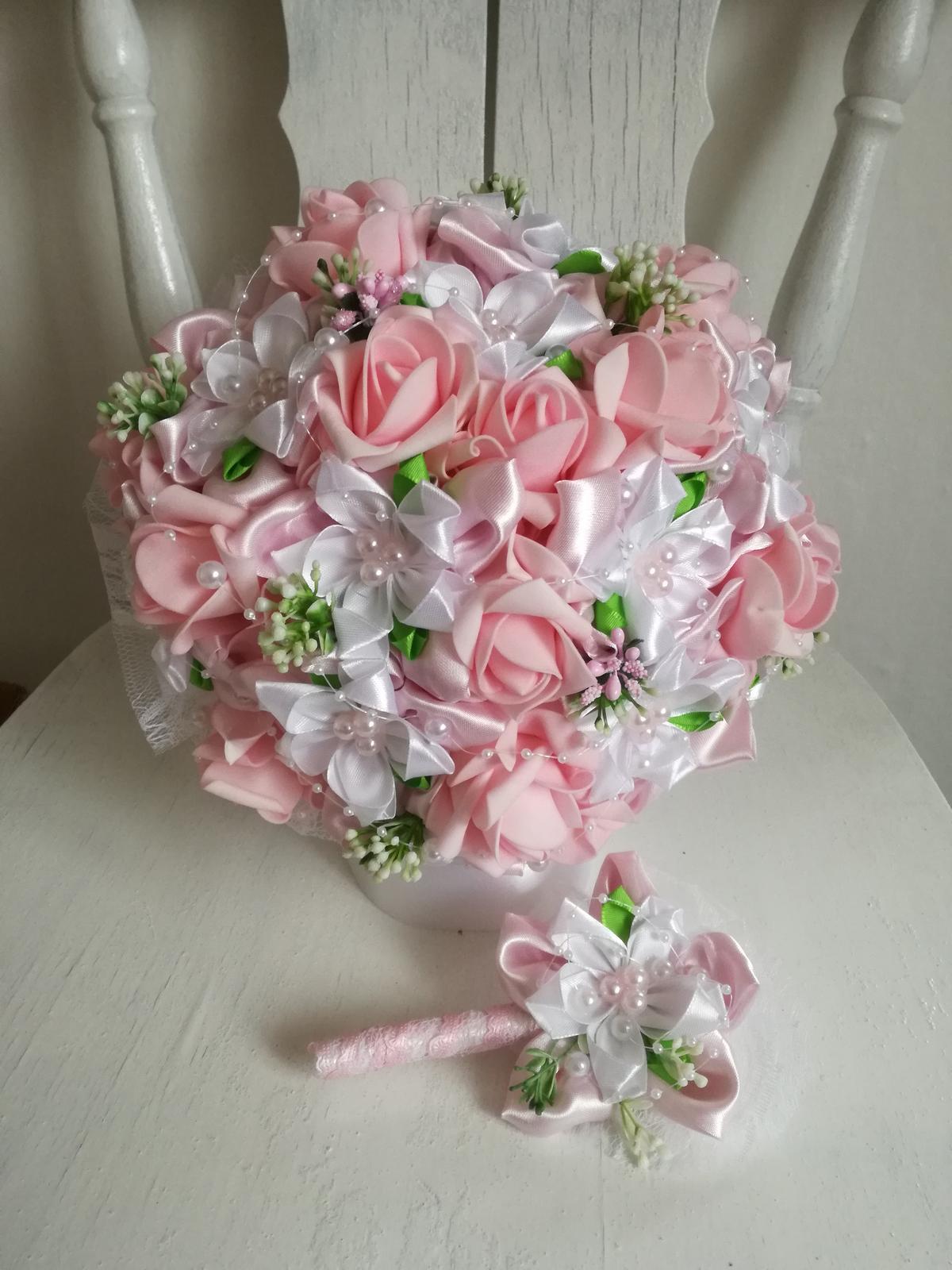 látková kytica -ružová,pošta v cene - Obrázok č. 1