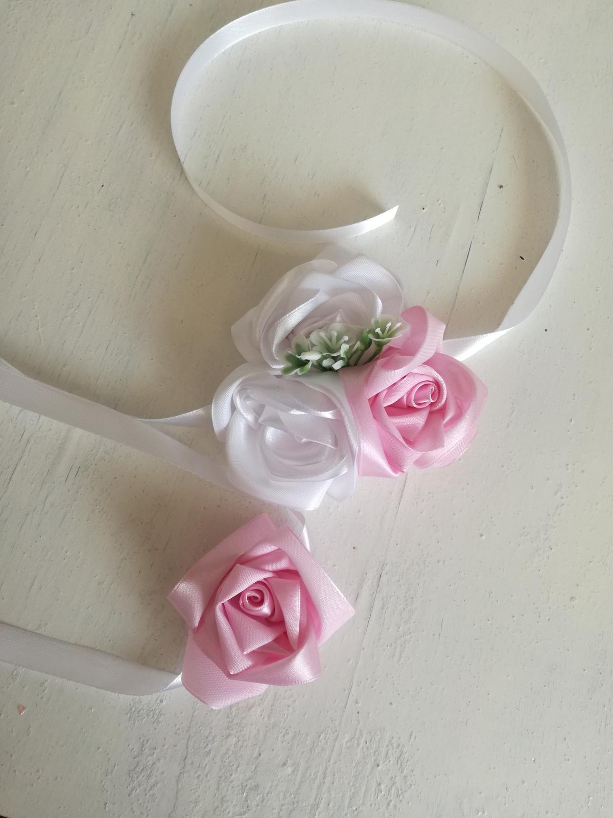 Saténové ruže-ružovo biele,pošta v cene - Obrázok č. 4