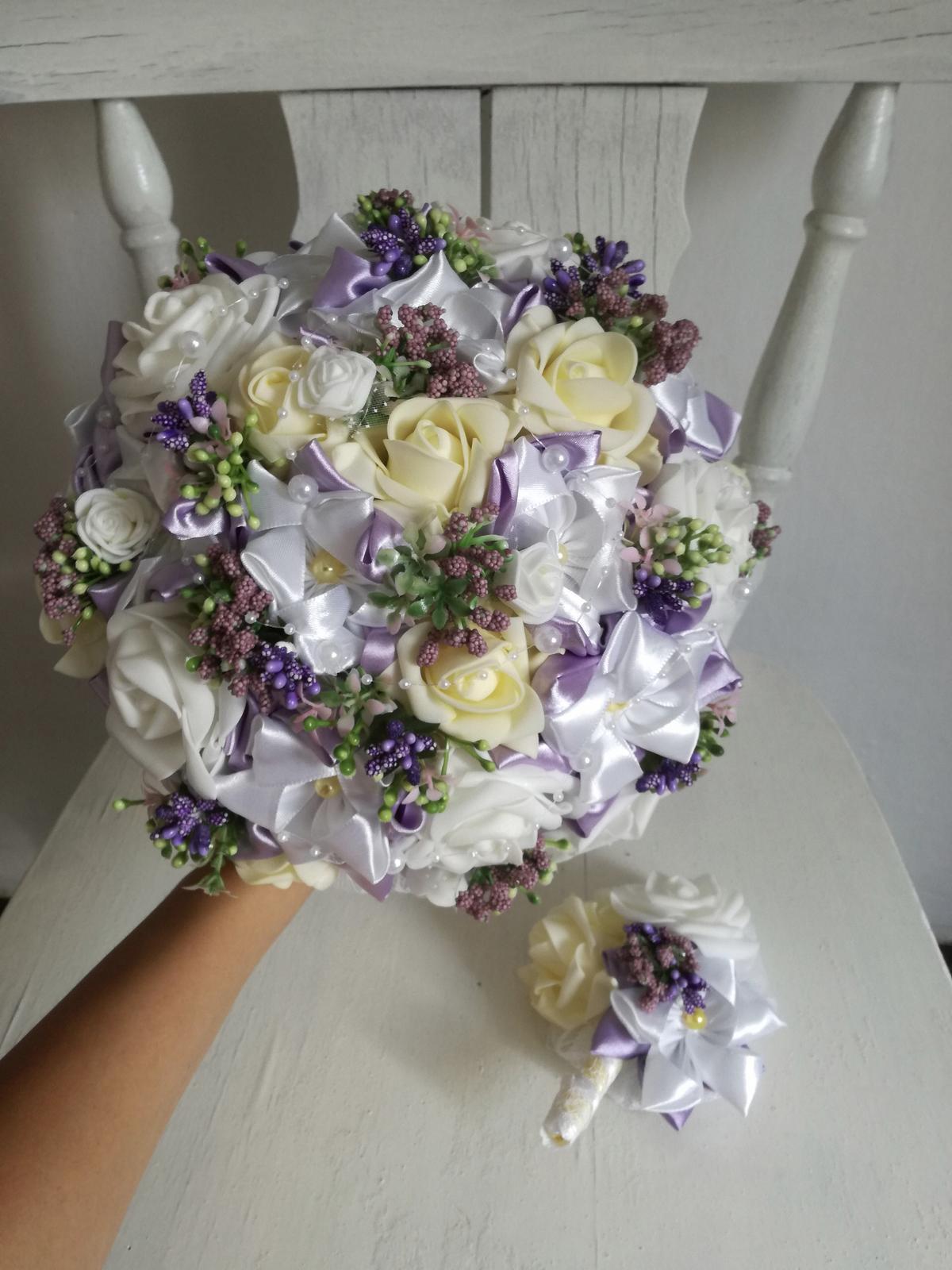 Látková kytica-fialové ruže,pošta v cene - Obrázok č. 1