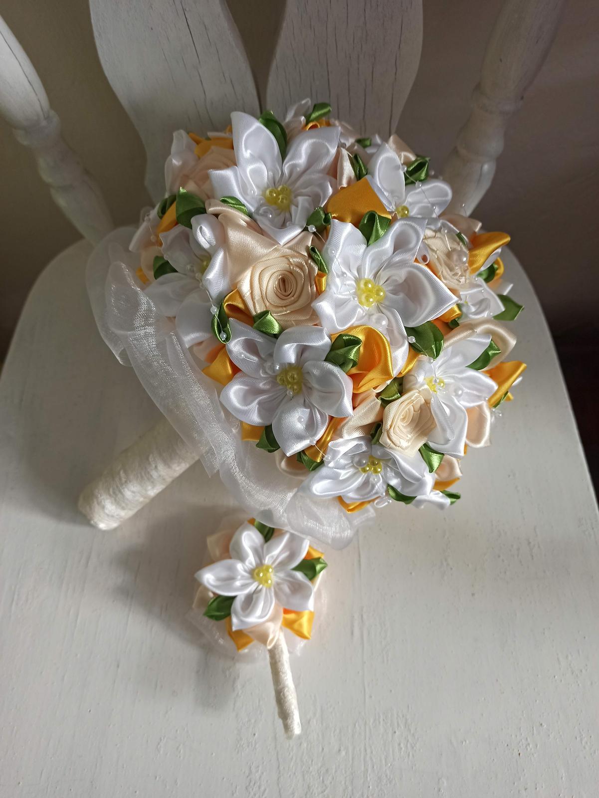 Žlto biela s krémovou a lístkami,pošta v cene - Obrázok č. 4
