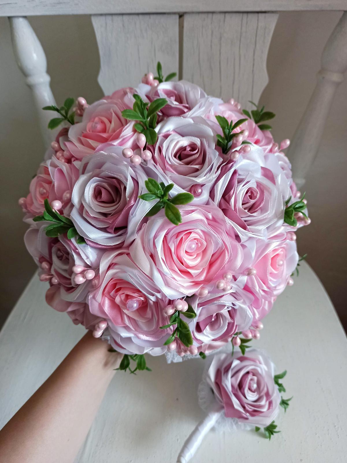 Rozkvitnutá ružová kytica,pošta v cene - Obrázok č. 2
