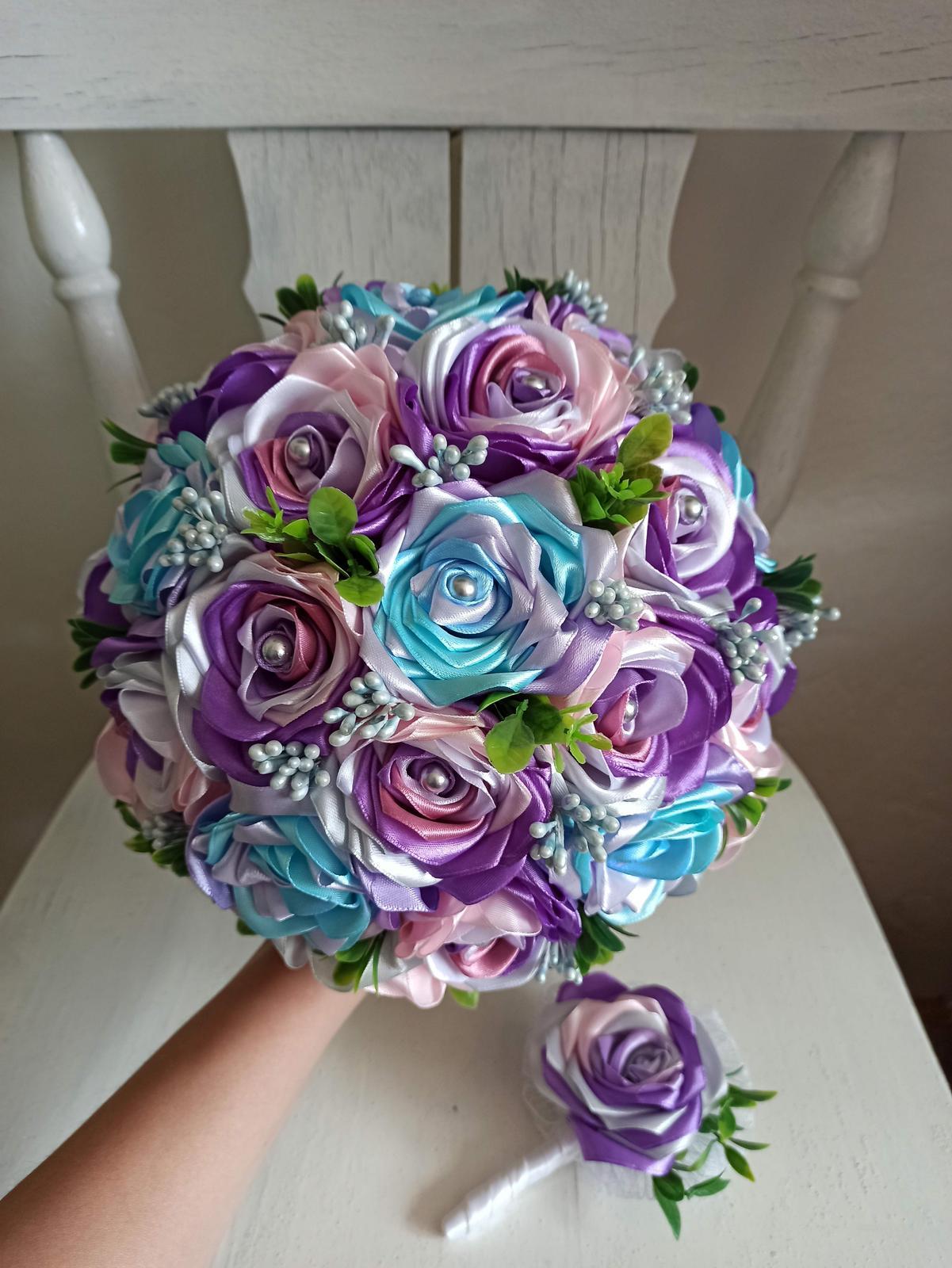 Látková kytička-fialové lupienky, pošta v cene - Obrázok č. 1
